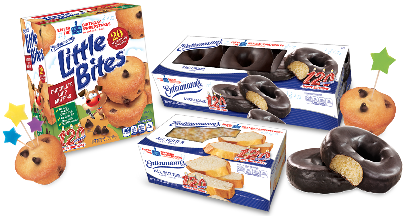 Entenmann's products, donuts, loaf cakes and Litte Bites muffins