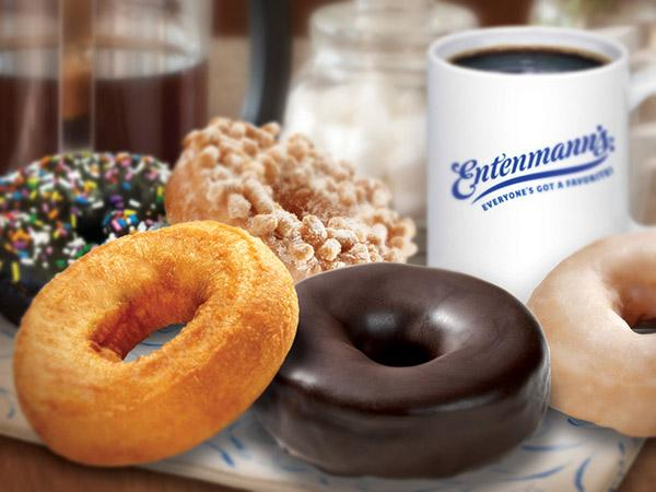 Todays Entenmann's donuts with a side of coffee