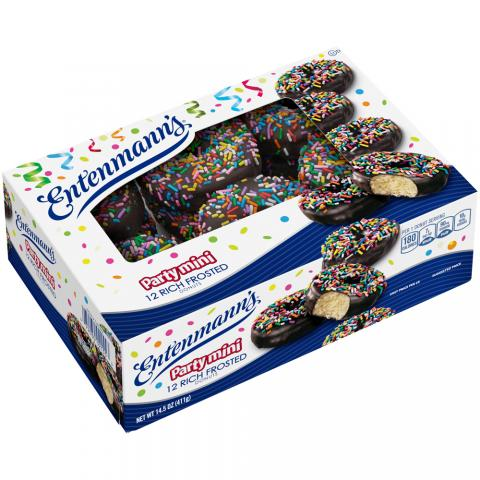 12 Party Mini Sprinkled Rich Frosted Donuts