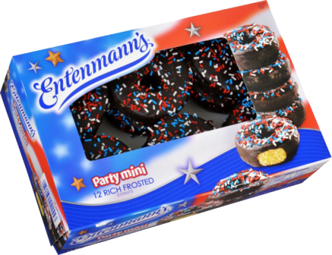 Patriotic Party Mini Sprinkled Rich Frosted Donuts